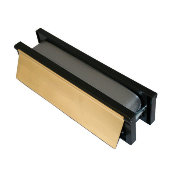 """Intumescent Letterplate 12/300mm Polished Gold / Black"""""""
